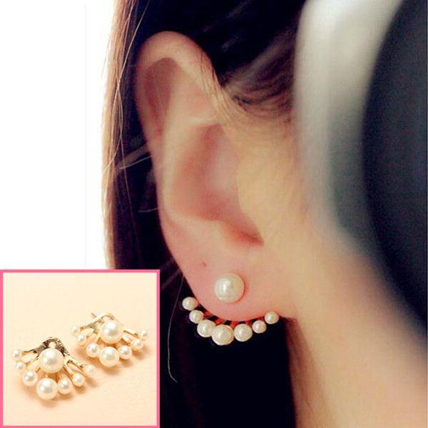 Lovely Gold Plated Pearl Ear Stud Earrings For Women Women Jewelry