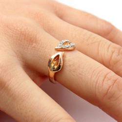 Lovely Gold Silver Rhinestone Double Leaves Finger Ring Unisex