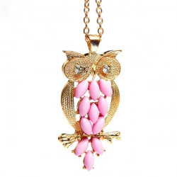 Lovely Pink Crystal Eyes Owl Chain Pendant Necklace For Women