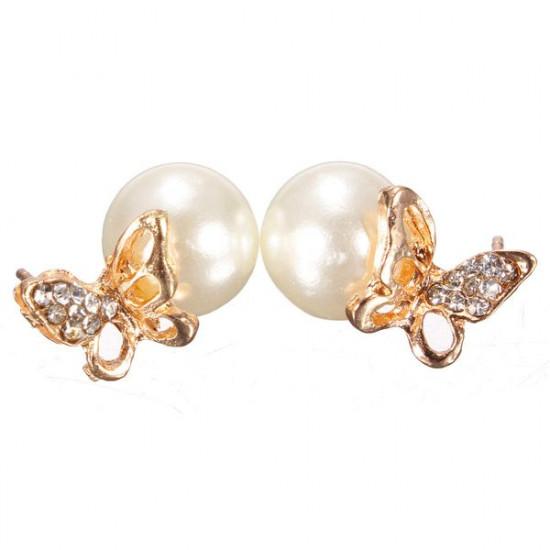 Lovely Rhinestone Pearl Butterfly Stud Earrings For Women 2021