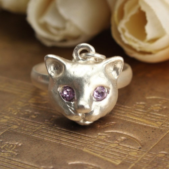 Lovely Rhinestone Pussy Cat Star Necklace Ring Jewelry For Women