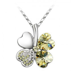 Lucky Four Clover Crystal Pandant Necklace With Swarovski Element