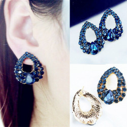 Luxury Blue Crystal Heart Waterdrop Earrings Ear Stud Women Jewelry