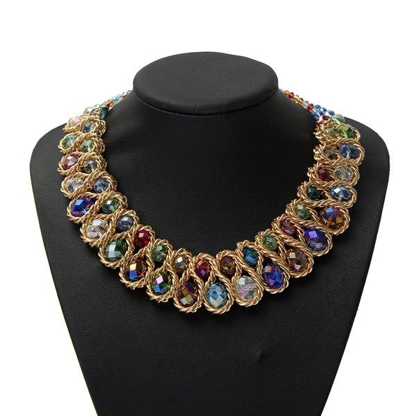 Luxury Chunky Double Crystal Bead Pendant Choker Collar Necklace Women Jewelry
