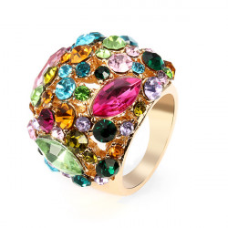Luxury Colorful Austrian Crystal Women Ring 18K Gold Plated