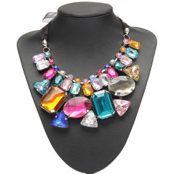 Luxury Colorful Big Crystal Statement Necklace Ribbon Chain Necklace