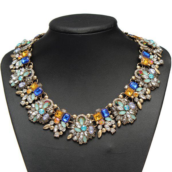 Luxury Colorful Crystal Flower Chunky Choker Pendant Necklace Fine Jewelry