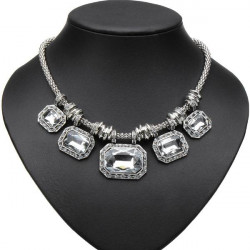 Luxury Crystal Rhinestone Square Choker Pendant Statement Necklace