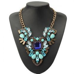 Luxury Crystal Water Drop Flower Choker Statement Pendant Necklace