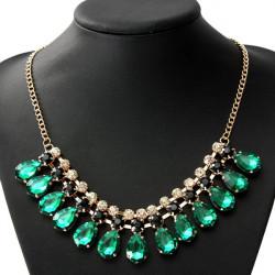Luxury Crystal Water Drop Statement Choker Pendant Necklace