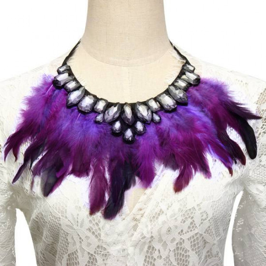 Luxury Feather Crystal Pendant Statement Ribbon Collar Choker Necklace 2021