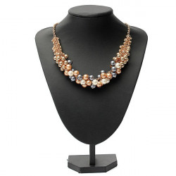 Luxury Gold Plated Pearl Beads Bib Choker Statement Collar Necklace