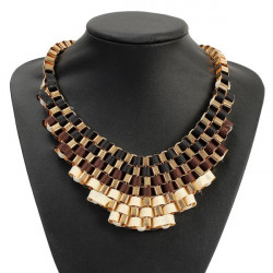 Luxury Link Chain Alloy Woven Choker Statement Pendant Necklace