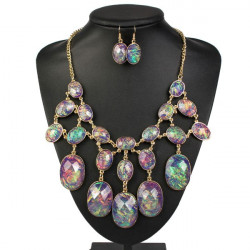 Luxury Oval Crystal Bib Bubble Statement Necklace Earrings Jewelry Set