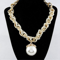 Luxury Pearl Rhinestone Multilayer Bib Chunky Pendant Necklace
