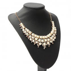 Luxury Rhinestone Pearl Choker Collar Statement Necklace For Women