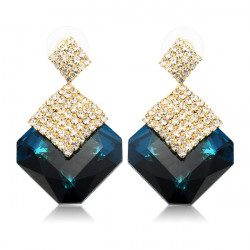 Luxury Square Crystal Rhinestone Drop Earrings For Women