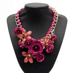 Multicolor Crystal Flower Cotton Rope Chunky Statement Choker Necklace