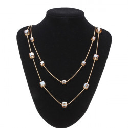 Multicolor Crystal Gold Plated Multilayer Sweater Chain Necklace