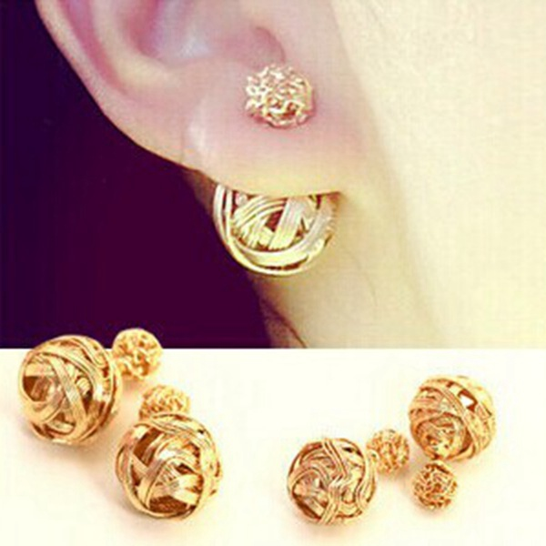 Multicolor Double Sides Hollow Out Two Balls Ear Stud Earrings Women Jewelry