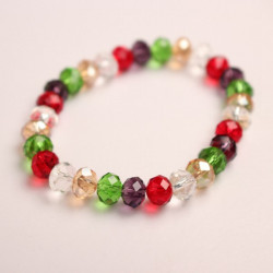 Multicolor Faceted Crystal Beads Elastic Bracelet Women Jewelry