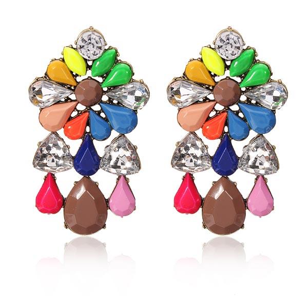 Multicolor Flower Crystal Earrings Water Drop Women Ear Stud