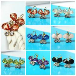 Multicolor Gold Plated Crystal Rhinestone Butterfly Earrings Ear Drop