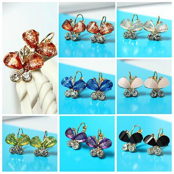 Multicolor Gold Plated Crystal Rhinestone Butterfly Earrings Ear Drop Women Jewelry