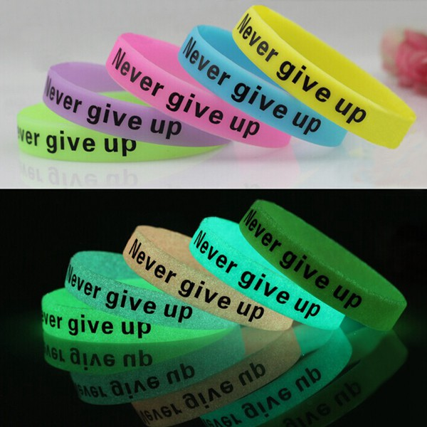 Multicolor Luminous Never Give Up Silicone Bracelet Wristband Unisex Women Jewelry