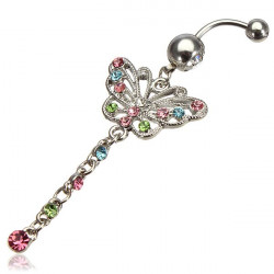 Multicolor Rhinestone Butterfly Dangle Navel Belly Ring Body Jewelry