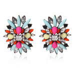 Multicolor Rhinestone Flower Stud Earrings Women Jewelry Women Jewelry