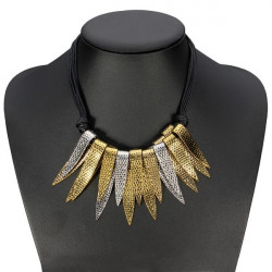 Multilayer Alloy Leaves Pendant Knotted Black Leather Chain Necklace