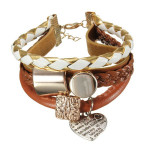 Multilayer Brown Leather Gold Metal Heart Rope Bracelet Bangle Women Jewelry