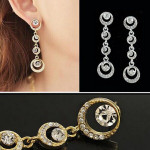 Multilayer Circles Round Rhinestone Crystal Drop Earrings For Women Women Jewelry