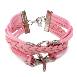 Multilayer Dragonfly Eiffel Tower Leather Cuff Bracelet Bangle