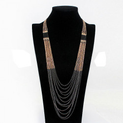 Multilayer Gold Black Tassel Long Chain Necklace For Women