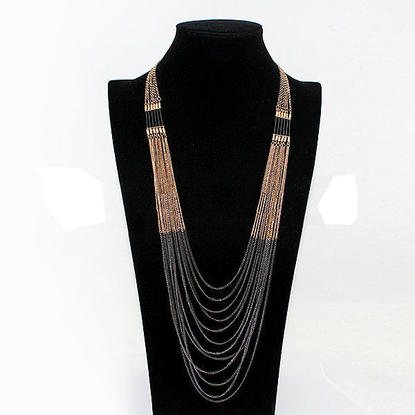 Multilayer Gold Black Tassel Long Chain Necklace For Women Women Jewelry