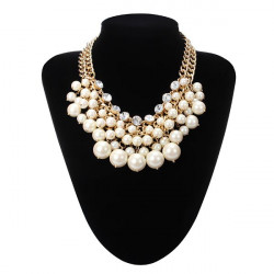 Multilayer Pearl Bead Crystal Collar Necklace Gold Plated Chain