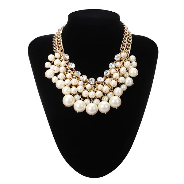 Multilayer Pearl Bead Crystal Collar Necklace Gold Plated Chain Women Jewelry