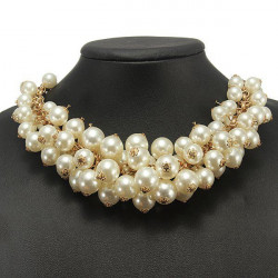 Multilayer Pearl Bib Statement Necklace Gold Plated Chain Choker