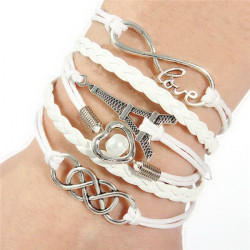 Multilayer Pearl Infinity Heart Eiffel Tower Leather Bracelet