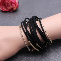 Multilayer Rhinestone Chain Braided Leather Magnetic Bracelet