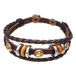 Multilayer Wrap Genuine Leather Crystal Bracelet For Women Men