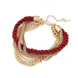 Multilayers Braided Rope Bracelet Gold Plated Chain Bracelet