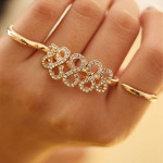 Number 8 Rhinestone Open Double Finger Rings Gold Silver Women Jewelry