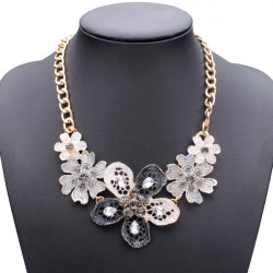 Oil Drip Crystal Flower Statement Choker Necklace For Women