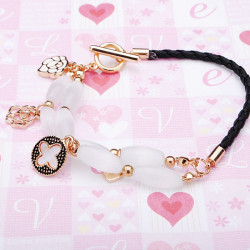 Opal Clovers Rose Flowers Multilayer Leather Rope Bracelet Gold Plated