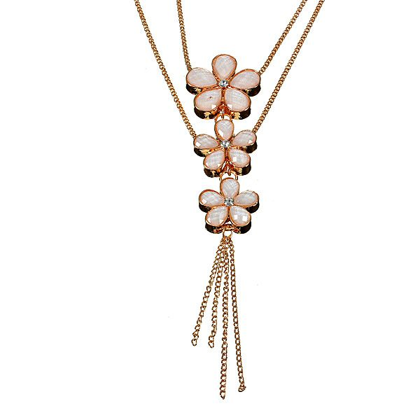 Opal Crystal Three Flowers Double Layers Long Golden Chain Necklace Women Jewelry