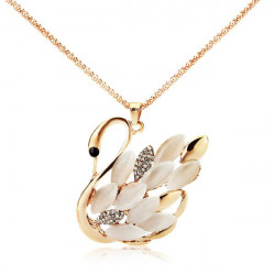 Opal Rhinestone Gold Swan Pendant Sweater Chain Necklace For Women