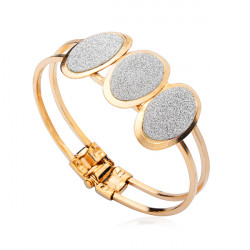 Oval Heart Flower Shaped Frosted Cuff Bangle Bracelet Gold Plated